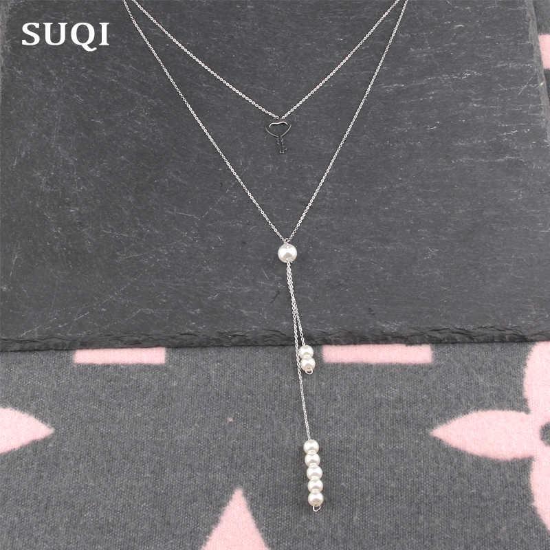 SUQI Boho Collares cho Nữ Vintage thép không gỉ Dây Chuyền Bạc Ngọc Trai Dài Tuyên Bố Đa Lớp Vòng Cổ Trang Sức Mặt Dây Chuyền