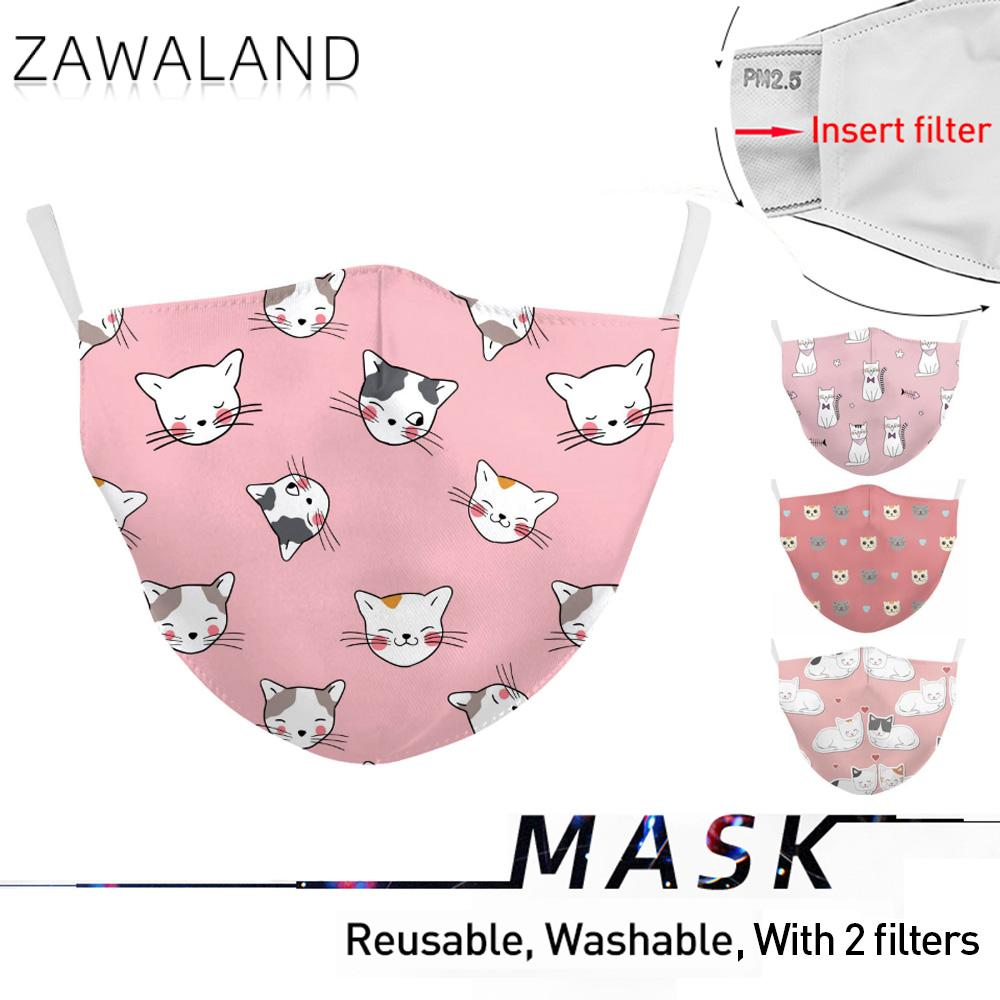 Zawaland Kid's Cat Printed Masks Baby Children Mouth Mask Cover Reusable Washable Fabric Face Mask