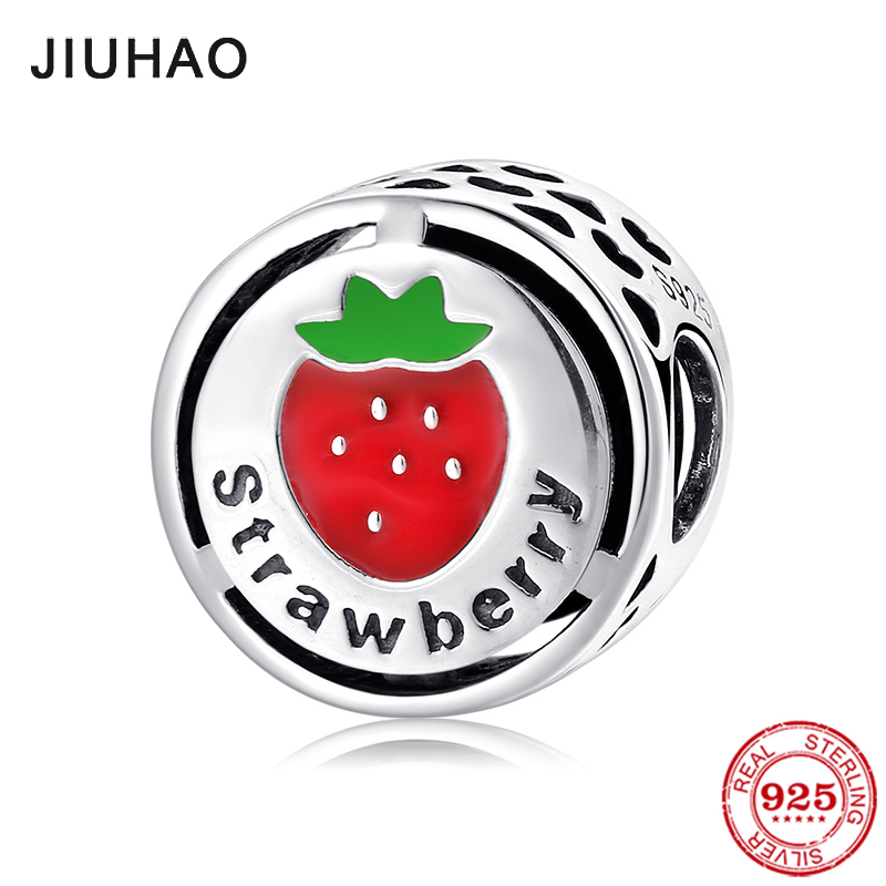 925 Sterling Sliver Red Enamel Lovely Strawberry My Favorite Fruit Charms Beads Fit Original Pandora Charm Bracelet Jewelry