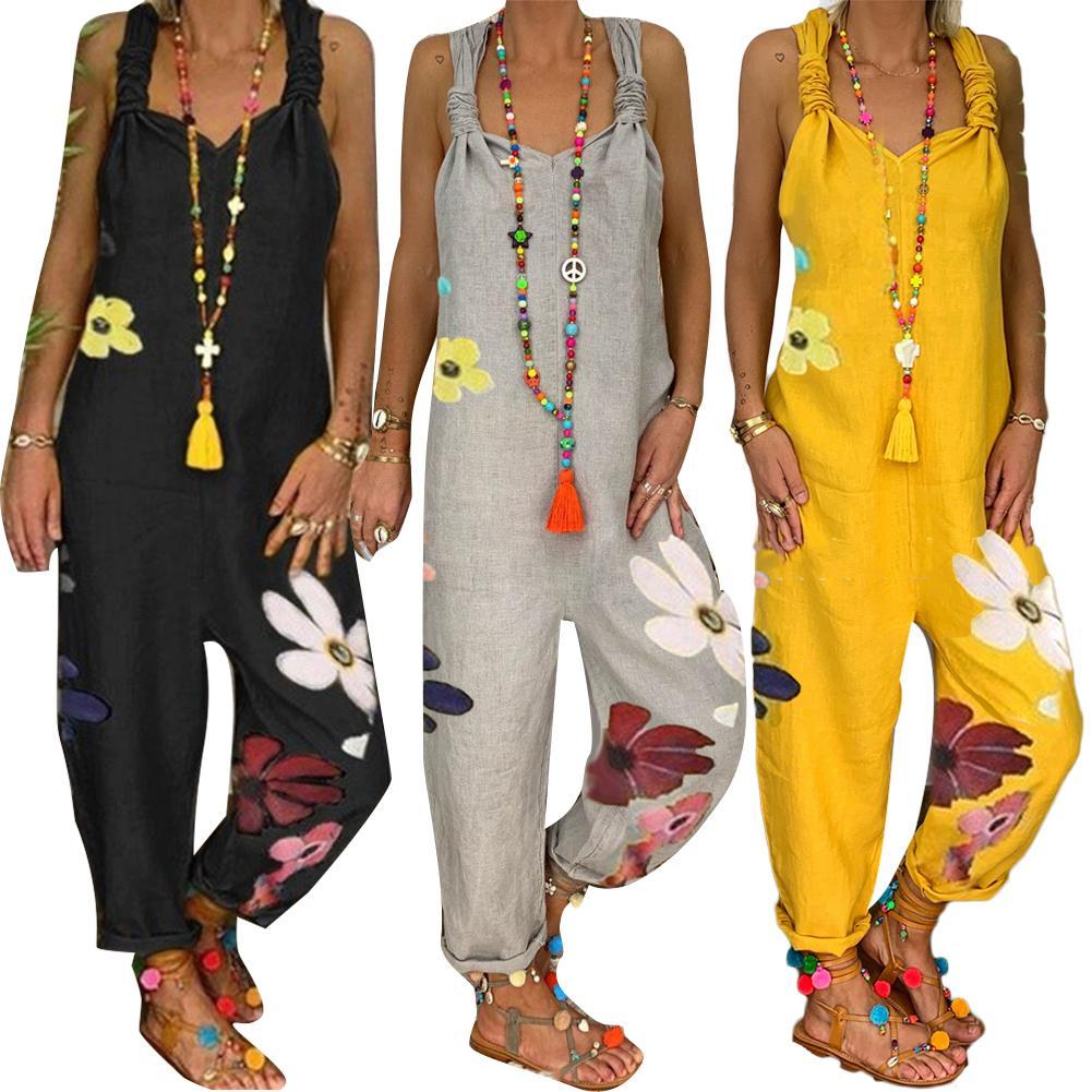 Women Jumpsuit  Female Printed Vintage Flower  Womens Jumpsuit Sleeveless Bib Overall Backless Floral Print Jumpsuit