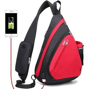 """Image 1 - Erkek kadın omuz çantaları USB şarj Crossbody çanta Anti hırsızlık göğüs çantası büyük kapasiteli 10.5 """"Ipad cep telefonu kısa gezisi çanta"""