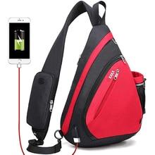 """الذكور النساء حقائب الكتف USB تهمة حقيبة كروسبودي مكافحة سرقة الصدر حقيبة سعة كبيرة 10.5 """"باد الهاتف المحمول رحلة قصيرة حقيبة"""