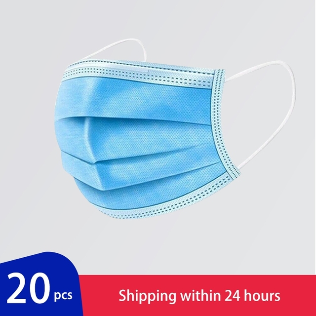 20 pcs/Bag 3 Layer Non-woven Medical Mask Disposable Mouth Mask Features Anti Dust Bacteria Proof Flu Safety Masks Men Women