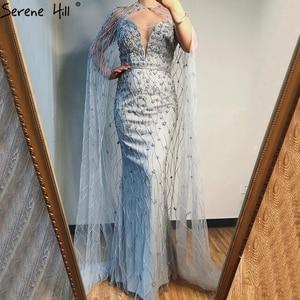 Image 1 - גריי בת ים שרוולים צעיף חוט ערב שמלות 2020 דובאי יוקרה ואגלי קריסטל פורמליות שמלת Serene היל LA70399