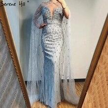 Szary syrenka bez rękawów szal przędzy suknie wieczorowe 2020 dubaj luksusowe frezowanie kryształ suknia Serene Hill LA70399