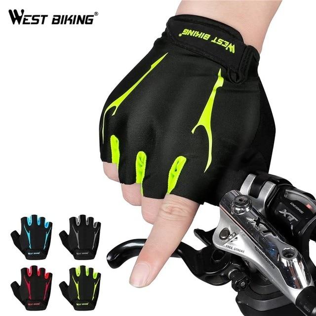 West biking luvas de ciclismo metade do dedo anti derrapante à prova de choque bicicleta gel almofada verão das mulheres dos homens esportes mtb bicicleta estrada luvas 1