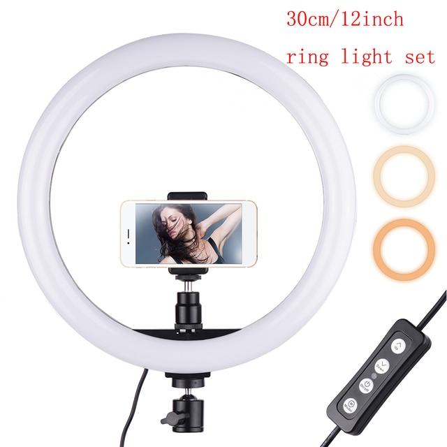 180PCS 30 cm/11.8in LED וידאו טבעת אור למלא תמונה מנורת 24W Dimmable 2700  5500K 11 רמות עם Smartphone מחזיק עבור טלפון