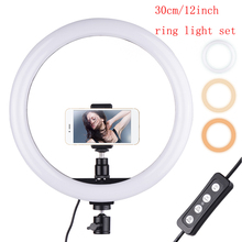 180PCS 30cm/11.8in LED Video Ring Light Fill in photo Lamp 24W Dimmable 2700 5500K 11 levels with Smartphone Holder for phone
