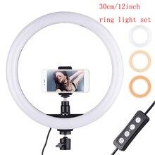 Anneau lumineux pour vidéo, 30cm/180 pouces, lampe pour photo 24W, intensité variable 2700 – 5500K, 11 niveaux de luminosité, pour téléphone, pièces