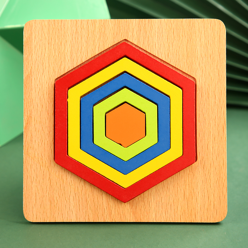 High Quality Colorful 3D Wooden Geometric Shapes Cognition Puzzles Board Math Game Montessori Learning Educational For Kids Toys 10