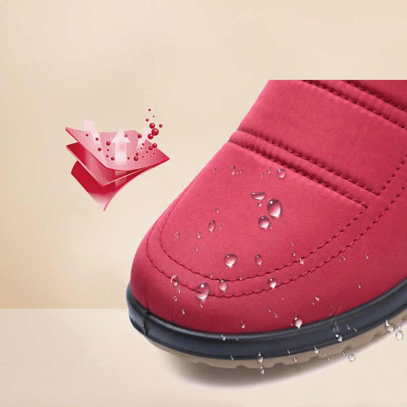 Su geçirmez kar botları kadın kış ayakkabı sıcak ayakkabı soğuk kış kadın yarım çizmeler kaymaz-30 derece pamuklu bot a1956