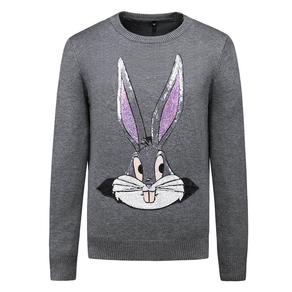 New 2019 Men Luxury Rabbit Hot Drilling Diamond Embroidered Casual Sweaters Pullover Asian Plug Size High Quality Drake #E120
