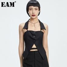 [EAM] Women Black Slit Halter Backless Slim Casual Tank Tops New Sleeveless Personality Fashion Tide Spring Summer  2021 1DD7292