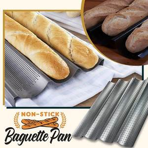 Bread-Baking-Tray Non-Stick Pe for Baguette Bake-Pan 2-Colors 38-Carbon-Steel-Mold Grooves-Wave