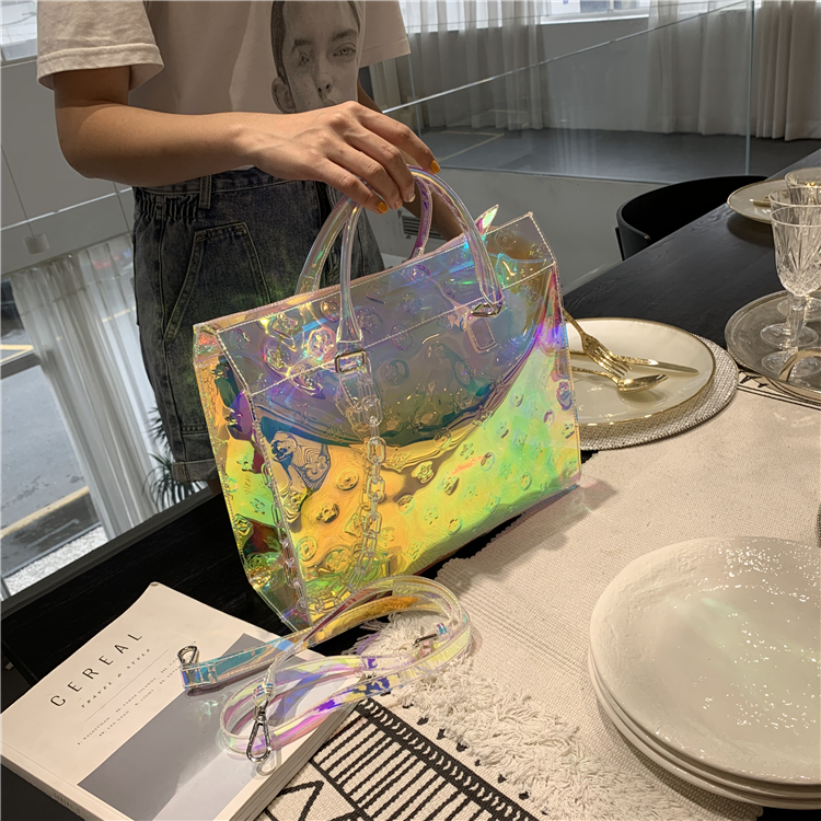 Colorful Laser 2020 Spring And Summer New Women's Bag British Casual Shoulder Bag Simple Tote HandbagBuy Free Mask