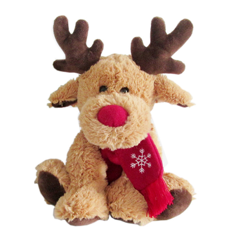 Lovely Christmas Reindeer Scarf Plush Stuffed Doll Toy Home Sofa Decoration Gifts For Children Home Decoration Accessories