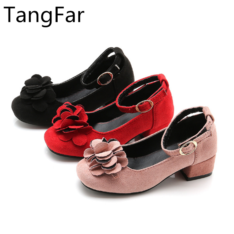 Girls Leather Shoes Princess Leather Floral Autumn Student High Heel Shoe Red Performance Loafers New
