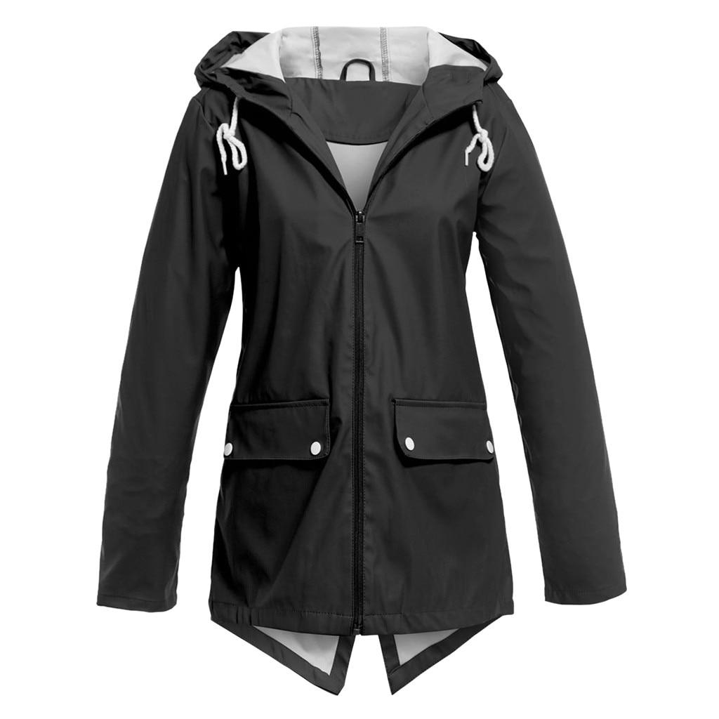 Women Rain Coat Waterproof Jacket Thin Hooded Womens Trench Zipper Coats Plus