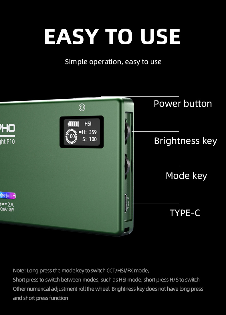 H164b813b644d4aacb3cd5d262a31334at soonpho RGB LED Camera Light Full Color Output Video Light Kit Dimmable 2500K-8500K Bi-Color Panel Light CRI 95+