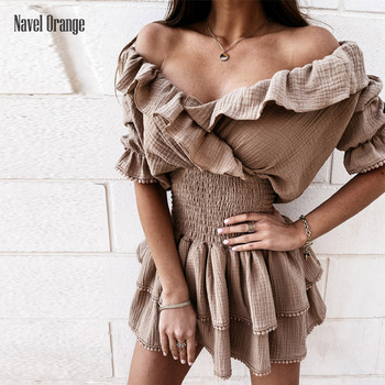 Summer Women Sexy Off-Shoulder Mini Dress Ruffle Puff Sleeve And Elasticized Waist Fashion Ladies Dress Cocktail Party Hot Dress 1