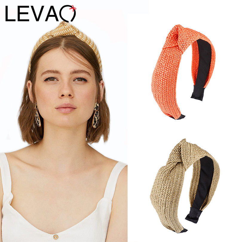 LEVAO New Colorful Hand-woven Straw Headband Solid Knotted Bezel Turban Elegant Women Hairbands Girls Hair Accessories Hair Hoop