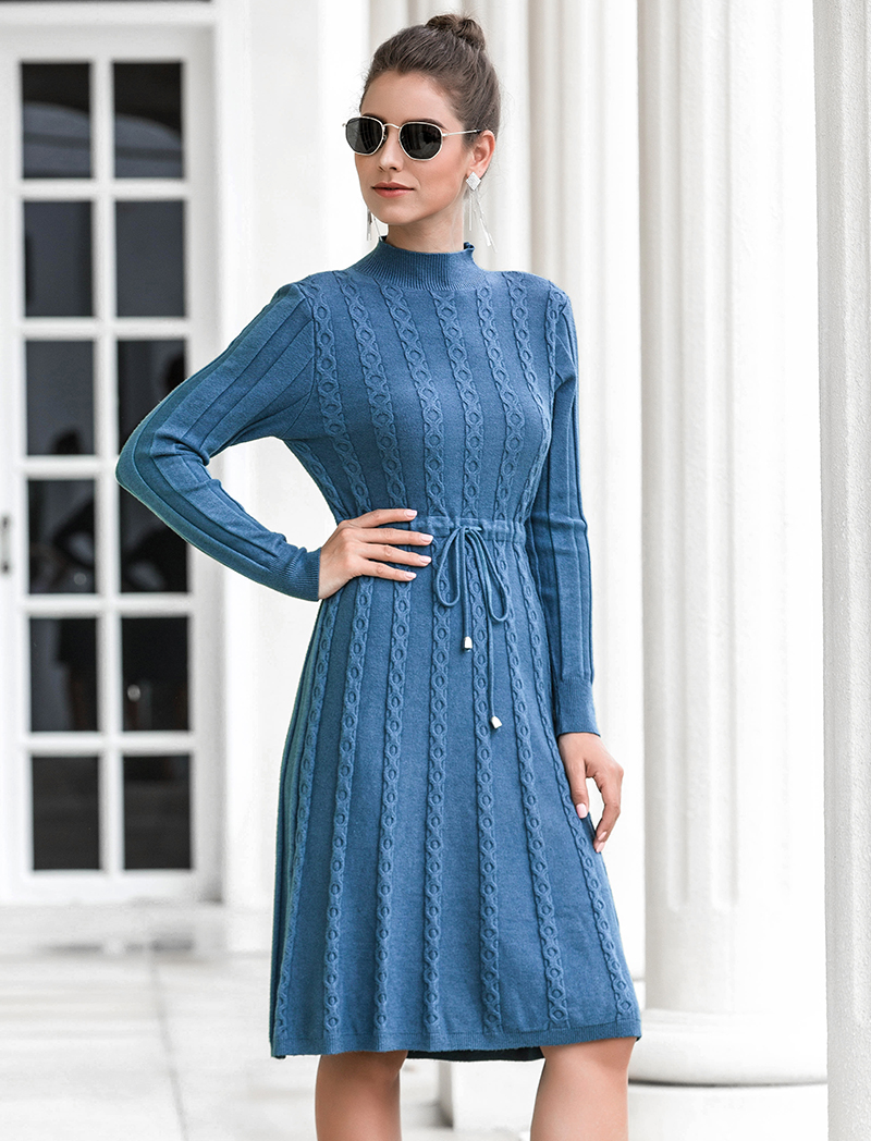 Autumn Winter Dresses 2019 New Arrival Fashion Casual Knee Length Knitted Dress Ladies Long Sleeve Sweater Dresses Black Blue 78