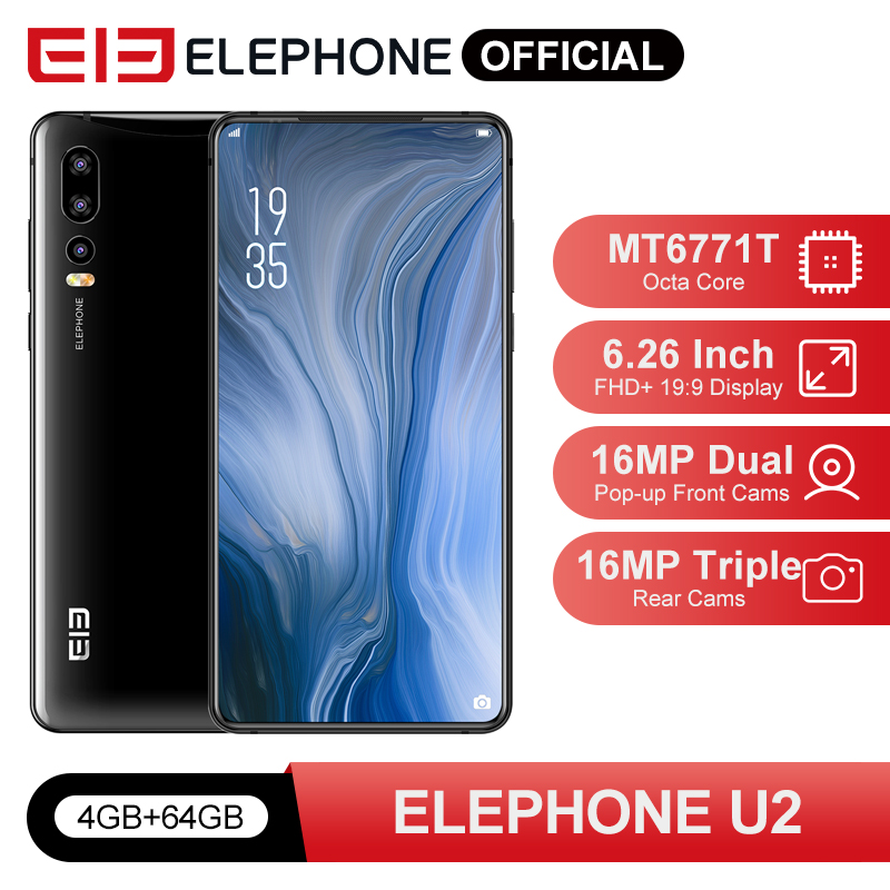 ELEPHONE U2 4GB 64GB  Smartphone Octa Core MTK MT6771T 16MP Pop-up Cam 6.26