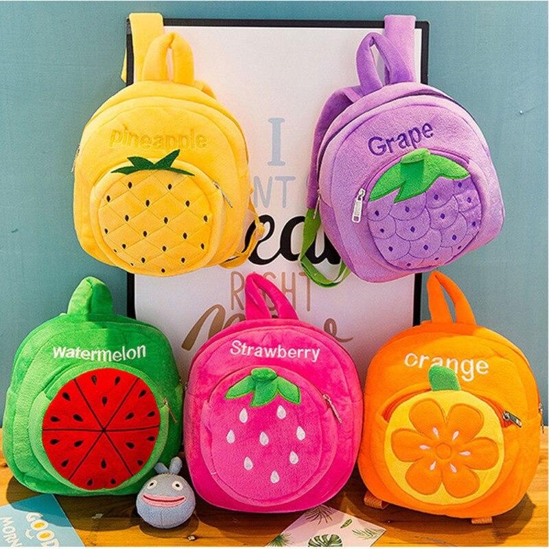 New Baby Kids Boys Girls Plush Mini Bags Fruit Cartoon Backpack Schoolbag &Rucksack Plush Backpack Shoulder Bags