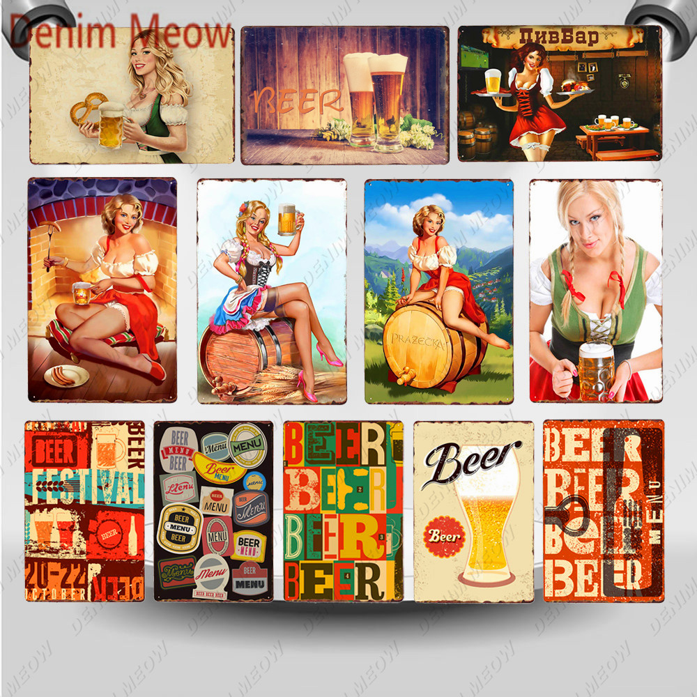 Pin Up Girl Beers Metal Tin Sign Vintage Wall Poster Sexy Lady Cold Drinks Shabby Chic Plaque Pub Club Casino Print Decor WY123|Plaques & Signs|   - AliExpress