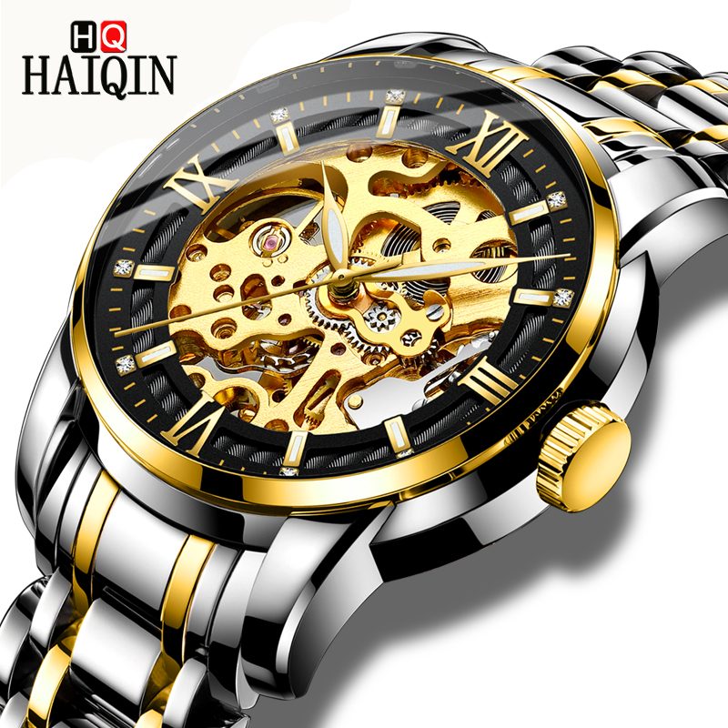 Relógio de Pulso Haiqin Relógios Masculinos Esporte Automático Mecânico Mliltary Relógio Masculino Marca Superior Luxo Mecanico –