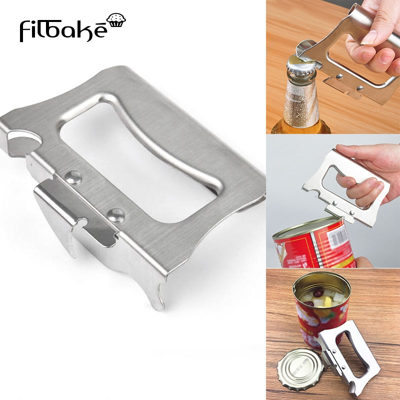 Filbake Stainless Steel Can Opener Manual Food-safe Good Grips With Steel Multi Tool Outdoor Home Jar Tin Bottle Opener Bar Tool