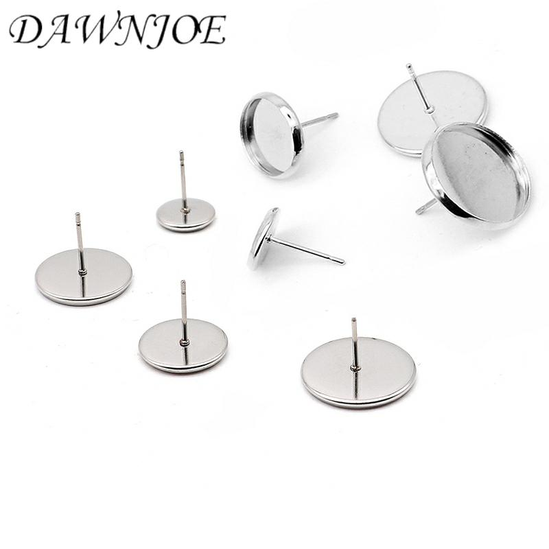 DAWNJOE 20 Pcs/lot High Quality 6-20mm 316 Stainless Steel Cabochon Base DIY Making Stud Earrings  Jewelry Supplies Finding