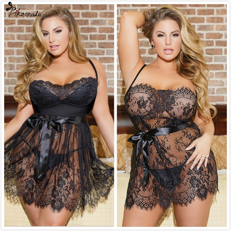 5XL Plus Size Women Sexy Lingerie Hot Erotic Apparel Porno Lace Flower Sleepwear Underwear Nightwear Night Gown Sex Costumes(China)