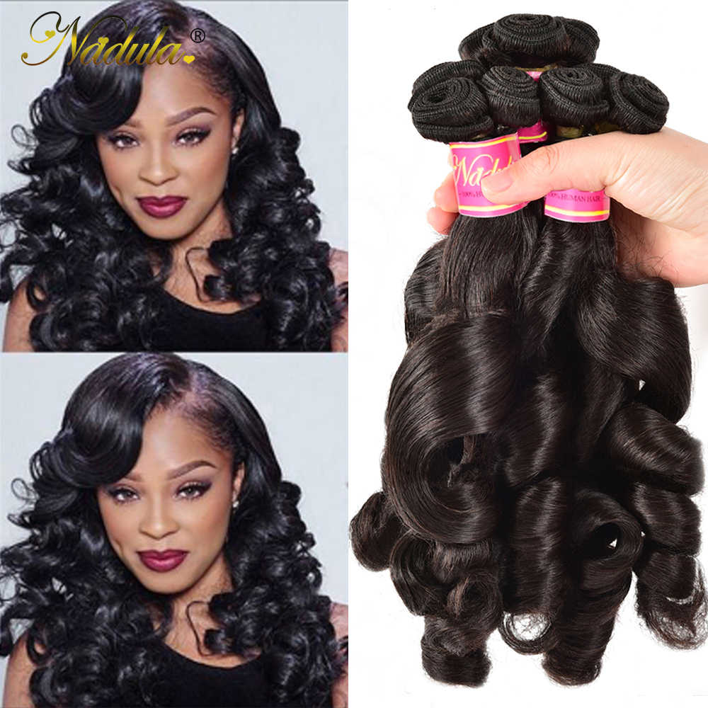 Nadula Hair Bouncy Funmi Curls Double Drawn Hair High Ratio 3 / 4 Bundles Curly Human Hair Wave 1PCS Remy Hair Extensions