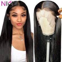 Nicy 150 densidade completa perucas dianteiras do laço 28 Polegada em linha reta peruca de cabelo humano perucas frontal do laço cabelo humano para preto