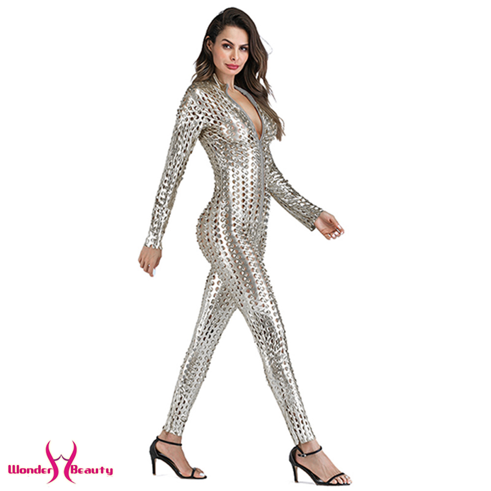 faux leather catsuit catwomen shiny black gold silver metallic leather jumpsuit wetlook pu leotard bodysuit bar night clubwear (19)