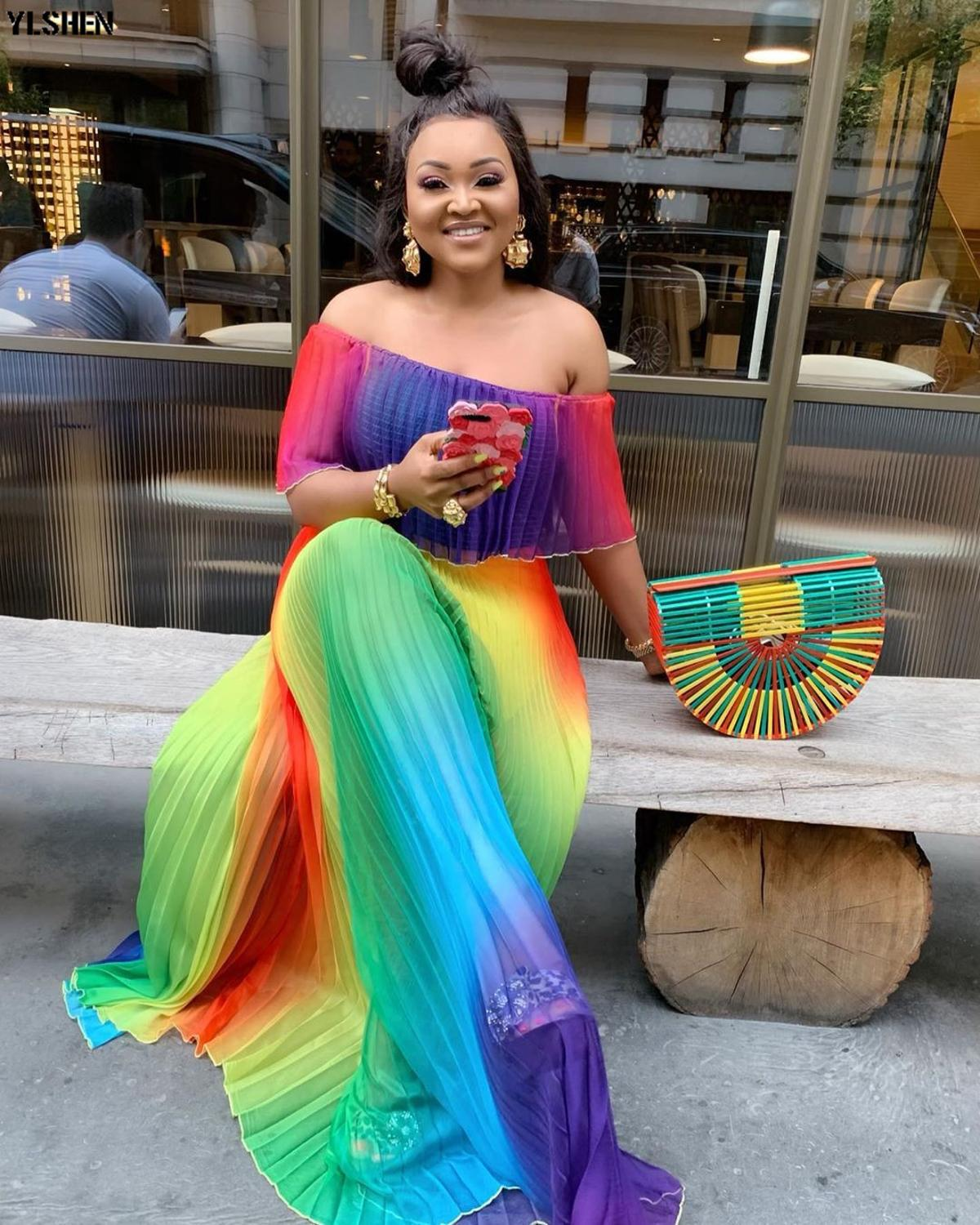 Print African Dresses For Women Vetement Femme 2020 Summer Long Dress African Clothes Fashion Dashiki Africa Dress For Lady