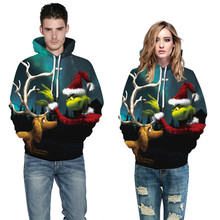 Casual Printed Christmas Hoodies For Couples Sweatshirts Women/Men Hooded Pullovers Tracksuit