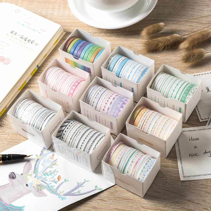 10pcs/set Basic Color Series Very Fine Washi Tape Children Diy Diary Masking Tape Stationery Scrapbook Stickers Decorative Tape