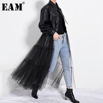 [EAM] Loose Fit Black Mesh Big Size Long Pu Leather Jacket New Lapel Sleeve Women Coat Fashion Spring Autumn 2021 PB27901 - discount item  33% OFF Coats & Jackets
