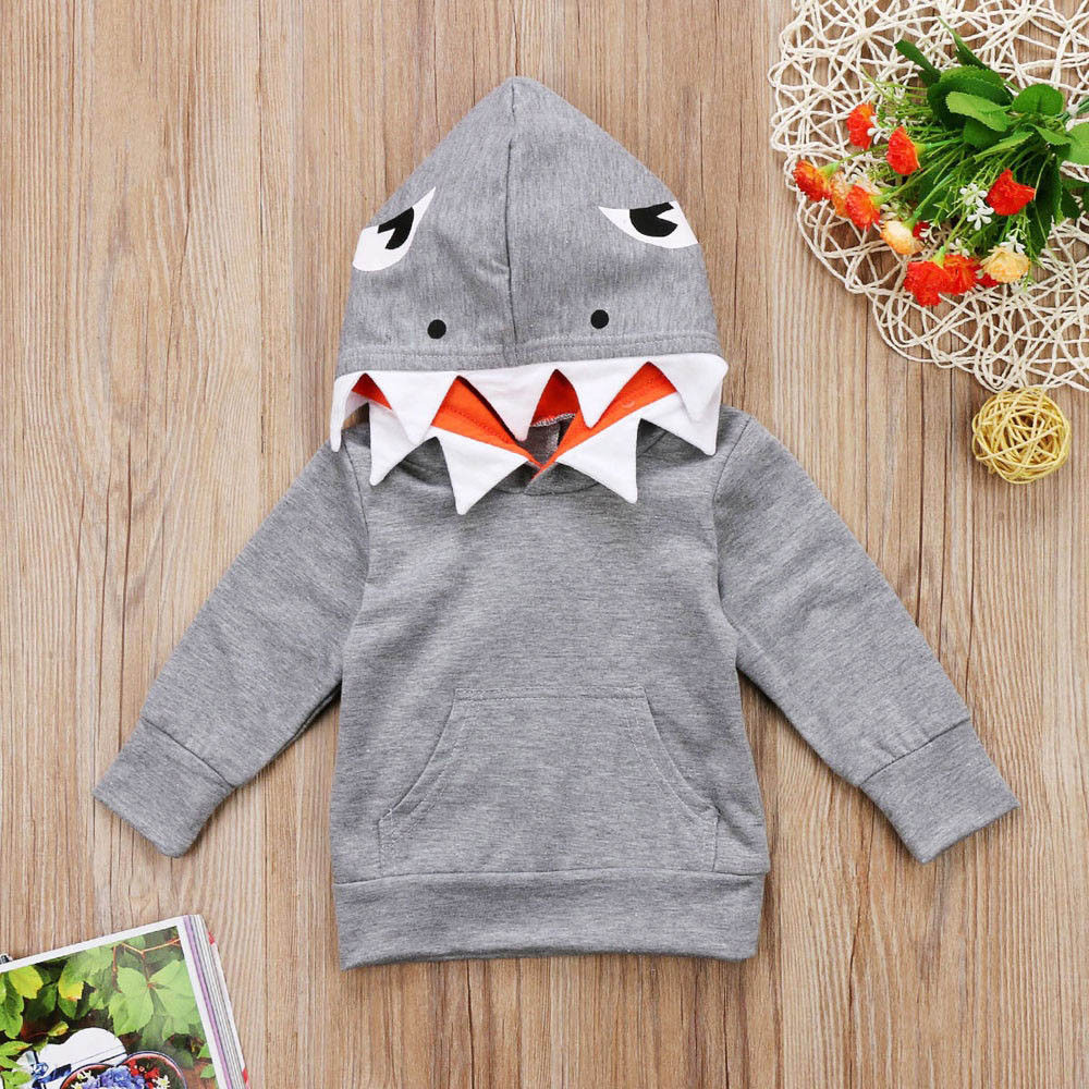 Hoodies Sweatshirt Top-Clothing Toddler Girls Baby Boys Kids Cartoon Shark Coat Long-Sleeves