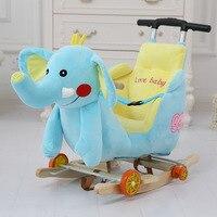 Multi function Wooden&plush animal Unicorn Elephant Mickey Rocking Horse Trojan toy Rocking Chair baby carriage Child trolley