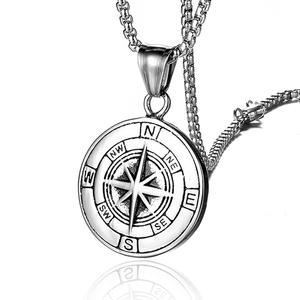 Stainless Steel Classic Antique Compass Gold Necklace Men Star/Letter Necklace Silver Color Round Jewelry fashion necklaces 2019
