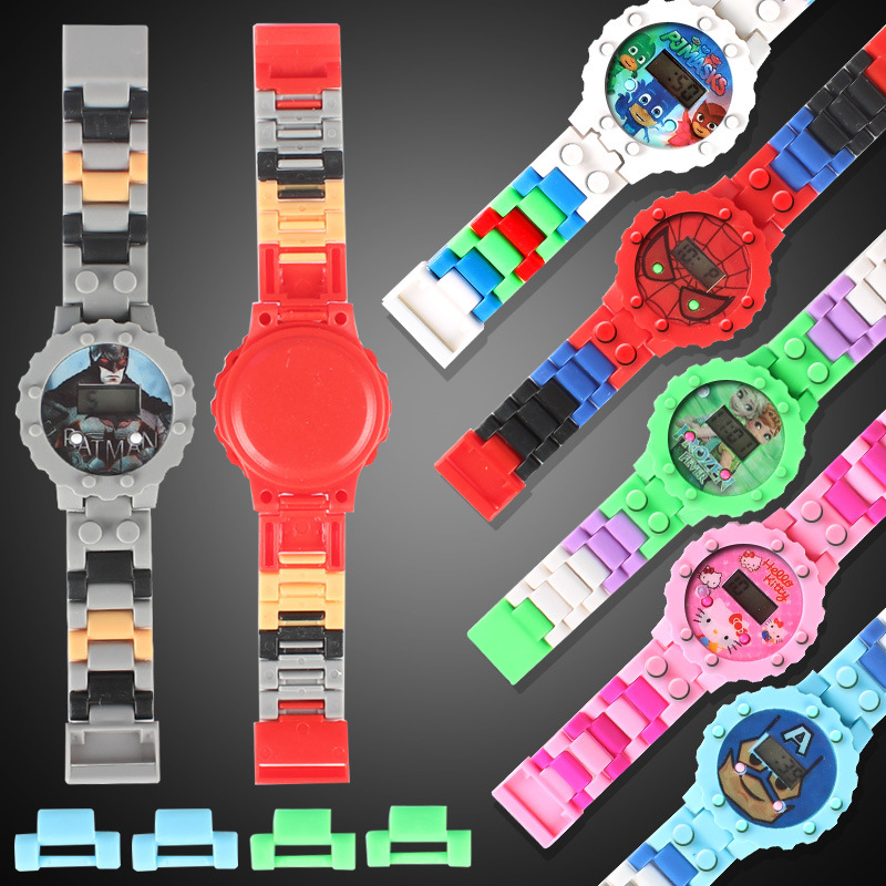 Children Toys Building Blocks Watch Boys Kids Watches Avengers Toy Figures Bricks Compatible Legoed Watch For Child Kid Gift