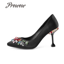 цена на Prowow New Pink Black Satin Sexy Pointed Toe Wedding Party Pumps Slip On Crystal Trimmed Thin HIigh Heel Pumps Shoes Women