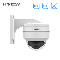 H.View 5Mp Poe Ip Camera PTZ Cctv Security Surveillance H.265 Outdoor Waterproof 5X Optical Zoom Dome Camera For Poe Nvr Onvif