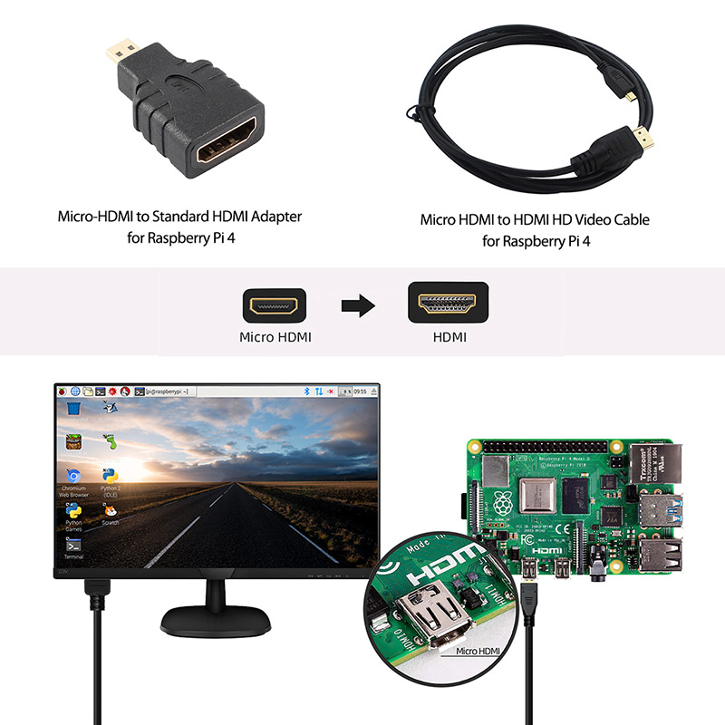 raspberry pi Original 4GB RAM Raspberry Pi 4 Model B DIY Kit Pi 4B with Cooling Fan+Heat Sink+Power Adapter+Case Box+32GB Micro SD+HDMI Cable (3)