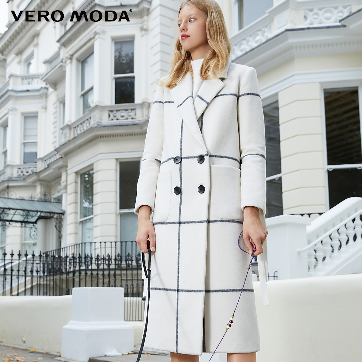 Vero Moda manteau droit en laine à carreaux urbains pour femmes   318327514