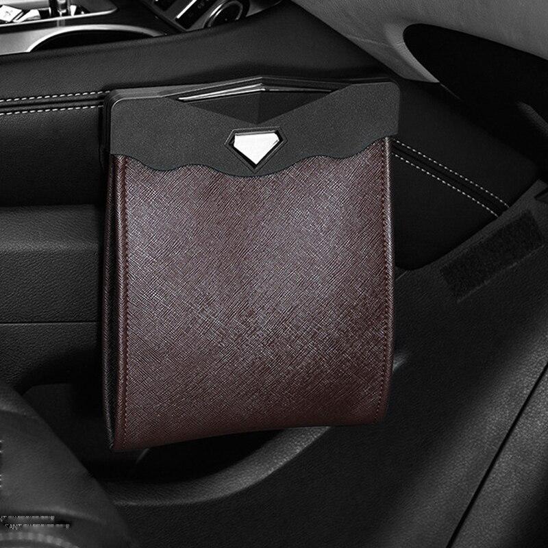 lowest price YOLU LED Car Trash Can Organizer Garbage Holder Car Storage Bag Accessories Auto Door Seat Back Visor Trash Bin Paper Dustbin