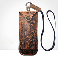 Vazrobe Genuine Leather Glasses Case (53g) Men Women Handmade with Strap Box for Spectacles Frames/small Diopter Eyewear Button